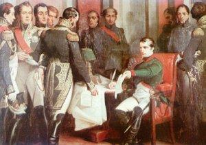 Napoleon podpisuje akt abdykacji