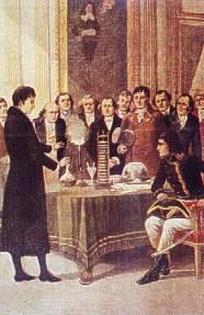 1801 - Volta demonstruje pierwszemu konsulowi działanie ogniwa elektrycznego