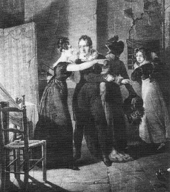 Scena ucieczki Lavalette'a - grawiura Reynoldsa wg Carle'a Verneta