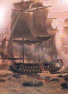 Napoleon i Maria Luiza wchodzą na pokład liniowca na  Skaldzie podczas wizyty w Antwerpii w 1810 r.